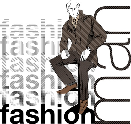 Sketch fashion & handsome business man