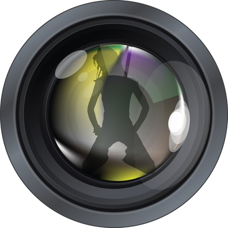 Professional photo lens. Editable vector illustration