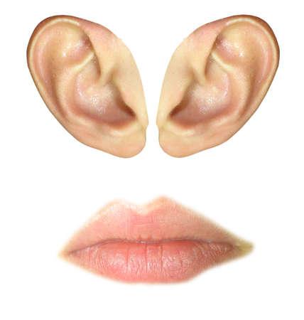 Foto für Human ears and lips isolated over white background - Lizenzfreies Bild