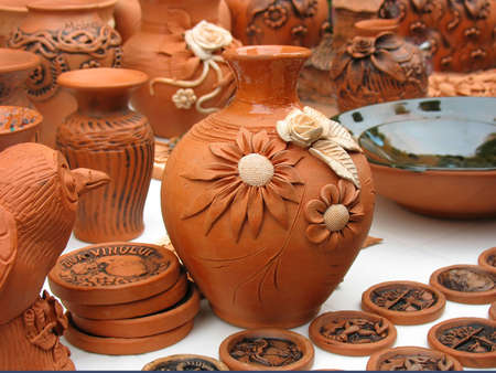 Handmade clay pots In a workshop from Europe