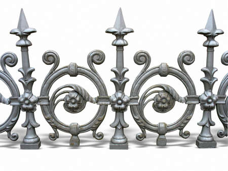 Forged decorative fence with shadow isolated over white background