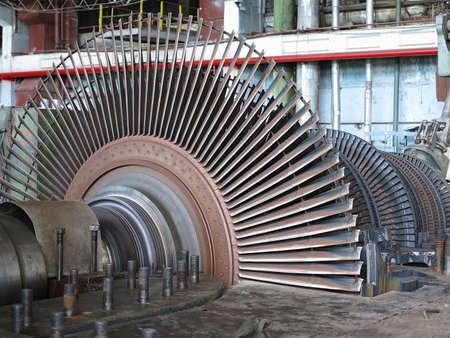 Photo pour Power generator and steam turbine during repair at power plant - image libre de droit