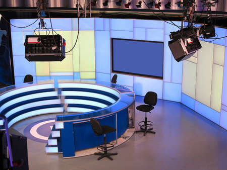 Photo for 05.04.2015. Moldova. PUBLIKA TV NEWS studio with light equipment ready for recordind release - Royalty Free Image