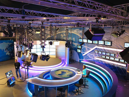 05.04.2015, MOLDOVA, Publika TV NEWS studio with light equipment ready for recordind release.