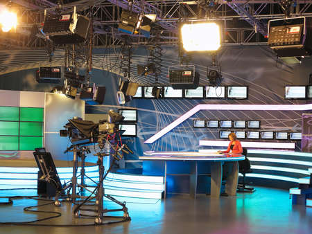 Photo for 13.04.2014, MOLDOVA, Publika TV NEWS studio with light equipment ready for recordind release. - Royalty Free Image