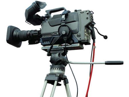 Photo pour TV Professional studio digital video camera on tripod isolated over white background - image libre de droit