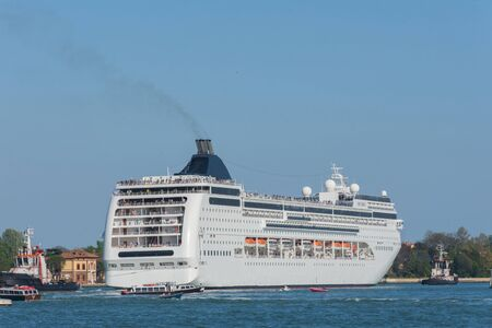 Photo for Cruise ship company in port of Venice, Italy - Royalty Free Image