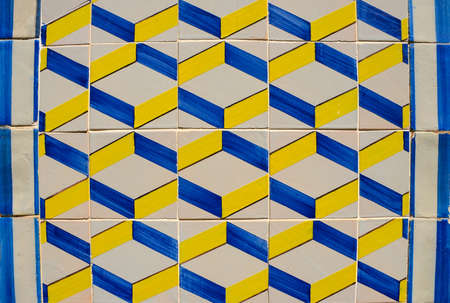 Photo for Ornamental old typical tiles from Portugal called azulejos made with colored ceramic tiles, who decorates the houses in Lisbon, Portugal - Royalty Free Image