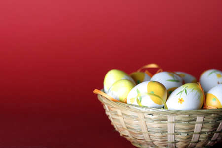 Painted easter eggs  in basket.