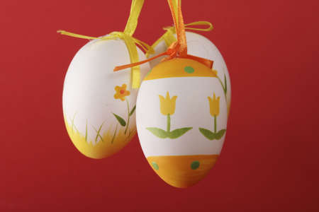 Beautiful painted easter eggs isolated