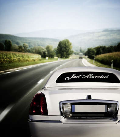 White limo on the road to happiness