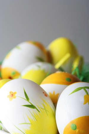 Macro of painted easter eggs