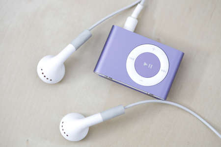 Modern and small mp3 player on a desk
