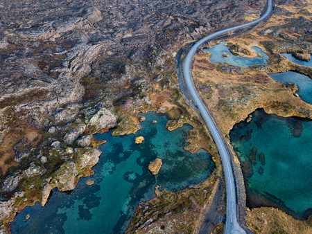 Icelandic aerial photography captured by drone.Beautiful landscape in the Myvatn lake in an area of ??active volcanism in the north of Iceland, near Krafla volcano.