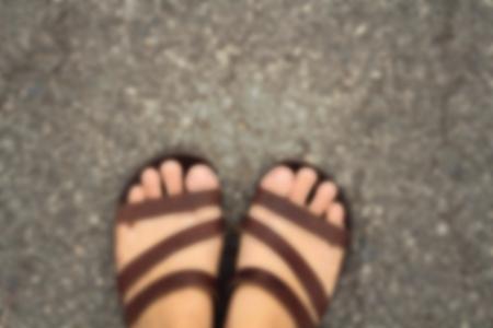 blur slippers on street