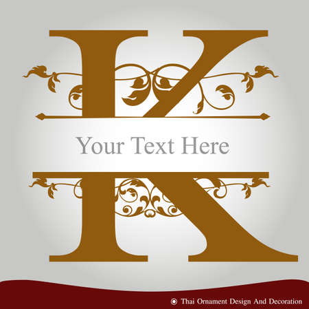 Vector of Letter K in the old vintage style. ABC concept type as icon. Typography design