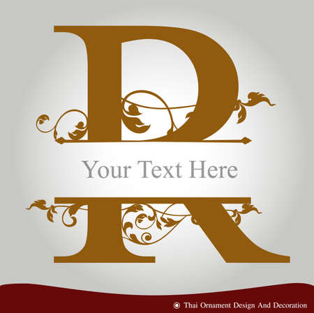 Vector of Letter R in the old vintage style. ABC concept type as icon. Typography design