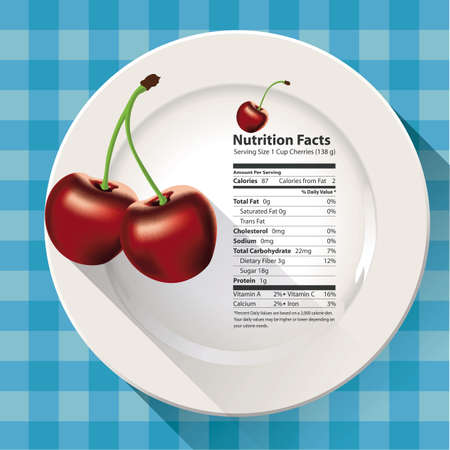 Vector of Nutrition facts cherries