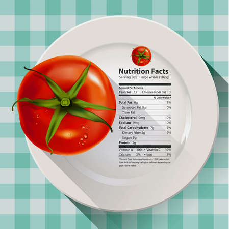 Vector of nutrition facts tomato