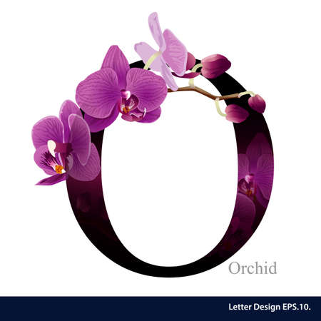 Letter O vector alphabet with orchid flower. ABC concept type. Typography design