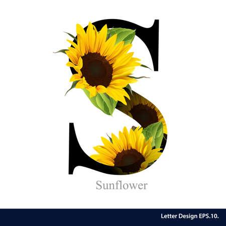 Illustration pour Letter S vector alphabet with sunflower. ABC concept type. Typography design - image libre de droit