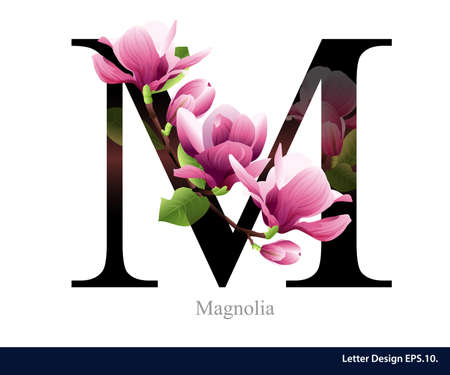Letter M vector alphabet with magnolia flower. ABC concept type. Typography design