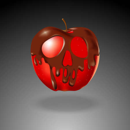 Chocolate shape skull coated red apple. Halloween concept.