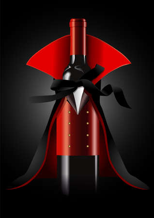 Illustration pour illustrator of Wine Bottle in Dracula Costume on black background.  Halloween concept - image libre de droit