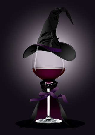 illustrator of Wine glass in Witch Costume on black background  Halloween concept