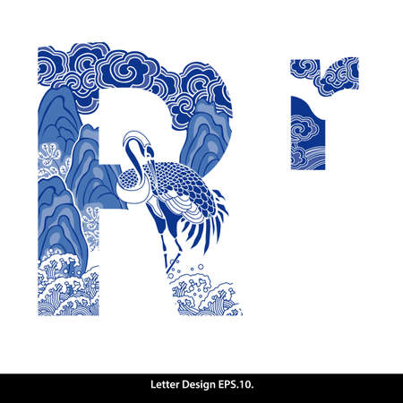 Oriental style alphabet tape R. Traditional Chinese style.