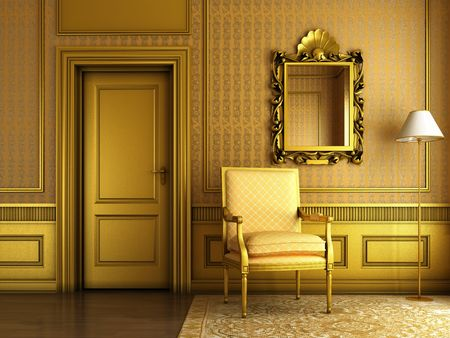 Interior scene of luxury living room with lots of golden molding and furniture