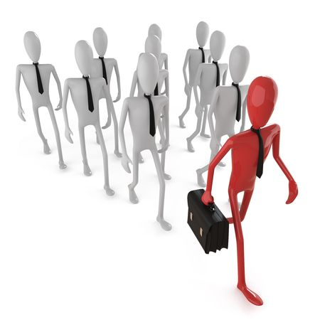 group of business dummy following a leader.