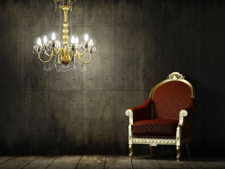 Photo pour interior scene of grunge concrete room with classic golden armchair and chandelier  - image libre de droit