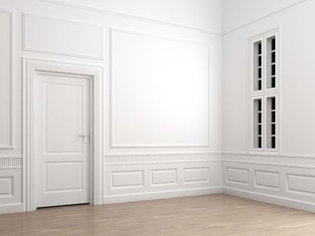 Interior scene of an emprty room corner with a closed door and a window