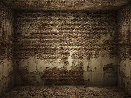 Interior of a very grungy brick wall room for use as background image