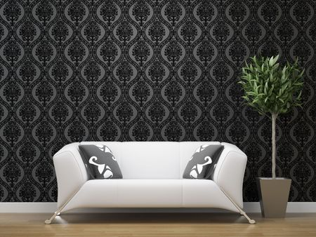 interior design of white sofa on black and silver wallpaper background with copy space