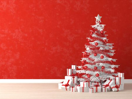 white and red christmas tree decorated with many presents on a vibrant red wall for background, copy space at left
