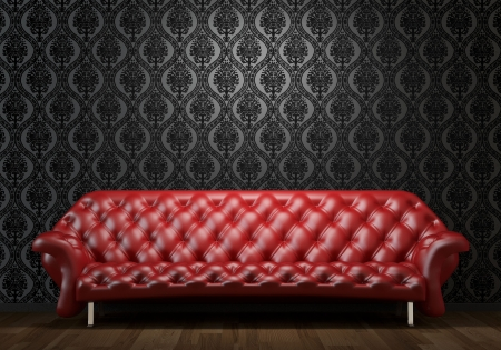 interior design scene of red leather couch on black wall illuminated from abobe by spotlight