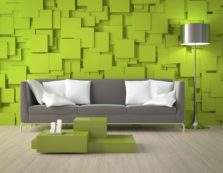 Interior design of a modern interior room with green wall made of blocks and furniture