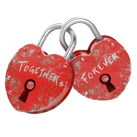 Photo pour two padlocks with together forever writen as concept for eternal  love  - image libre de droit
