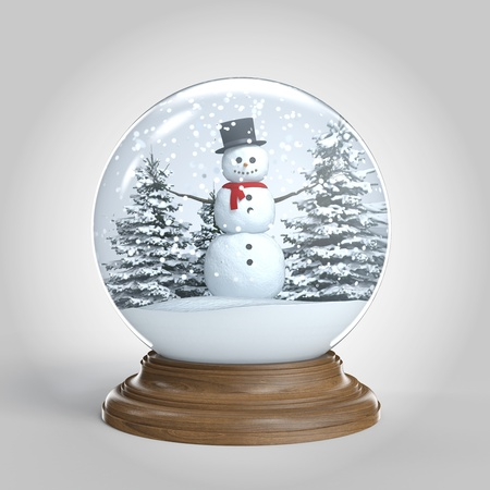 snowglobe with snowman on winter scene isoalted on white background