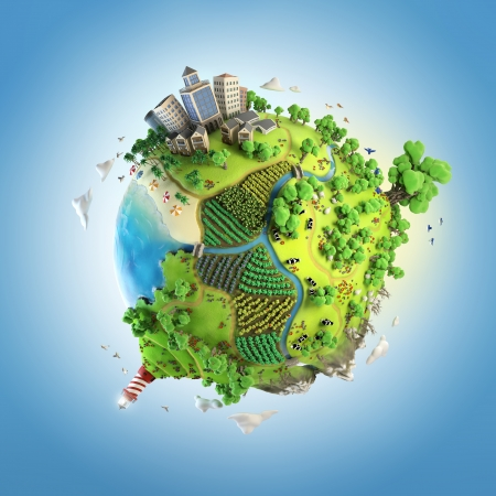globe concept showing a green, peaceful and idyllic life style in the world in a cartoony style