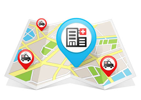 Hospital Map pointer Location Destination on map