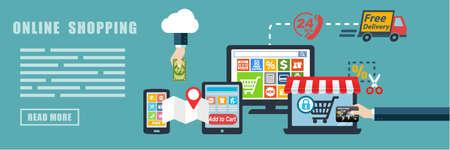 Photo pour Online Shopping E-commerce Flat Design Concept Banner Background - image libre de droit