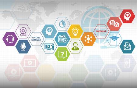 Foto de Webinar Training Online Education Background with various icons - Imagen libre de derechos