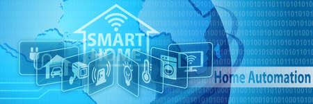 Photo pour Smart Home Automation Concept Banner with various icons - image libre de droit