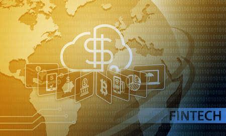 Photo pour Fintech Financial Technology Business Banking Service Background - image libre de droit