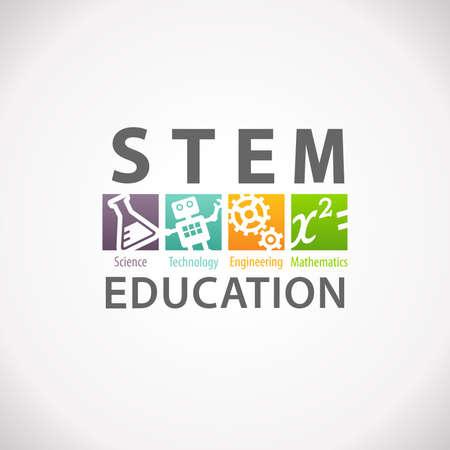 STEM Education Concept Logo. Science Technology Engineering Mathematics.