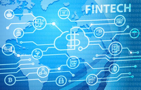Foto de Fintech Financial Technology Business Banking Service Background - Imagen libre de derechos