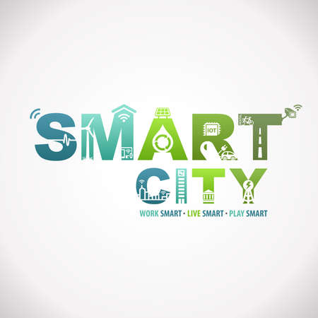 Smart City Work Live Play Smart Design Text Infographic